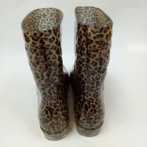 Customized fashionable women Leopard Printed rubber egoli gumboots steel toe cap gumboots gold