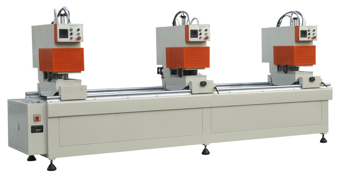UPVC / PVC Window Machinery Double Size 3 Heads With PLC Controls System