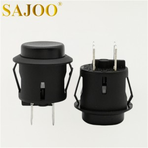 10A 5E4 round black push button switch SJ1-6