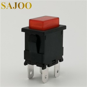 Red light 4PIN 6A small current push button switch SJ1-5