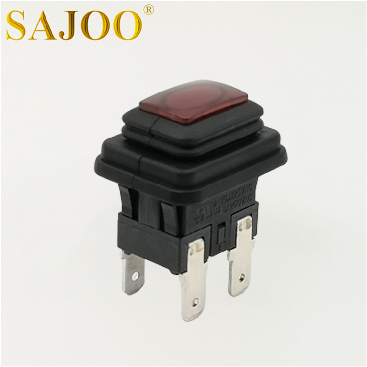 6A T125 square miniature waterproof push button switch with lamp SJ1-5(P) Featured Image