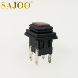 6A T125 square miniature waterproof push button switch with lamp SJ1-5(P)