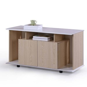 Neofront powder coated MDF office furniture / manager table with return/side cabinet/lateral files