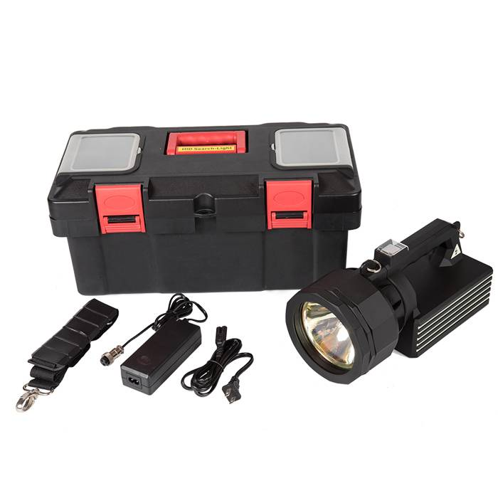 30/50W HID strong light searchlight, beam distance 1KM, portable searchlight rechargeable rescue searchlight Featured Image