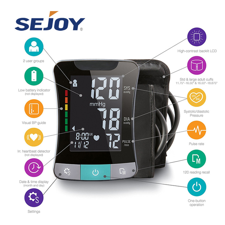 Large Screen Backlight Optional Digital Blood Pressure Monitor