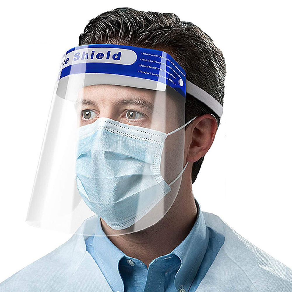 Wholesale Safety Face Shield Visors With Protective Clear Film Transparent Anti-fog Anti-spray Head Cover PET Face Shield Featured Image