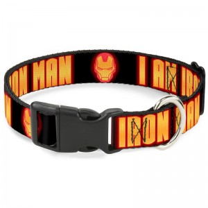 CAT COLLAR BREAKAWAY-IRON MAN FACE I AM IRON MAN BLACK YELLOW GLOW