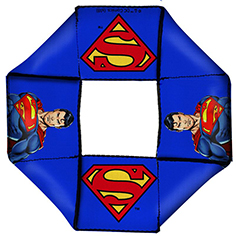 DOG TOY SQUEAKY OCTAGON FLYER-SUPERMAN POSE SHIELD ICON BLUE