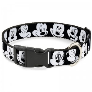 PLASTIC CLIP COLLAR-MICKEY MOUSE EXPRESSIONS CLOSE-UP BLACK/WHITE