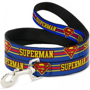 DOG LEASH- SUPERMAN/SHIELD SIRIPE BLUE/YELLOW/RED