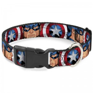 CAT COLLAR BREAKAWAY-CAPTAIN  AMERICA FACE TURNS SHIELD CLOSE-UP