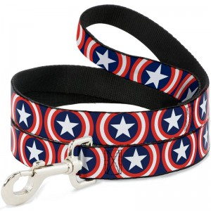 DOG LEASH- CAPTAIN AMERICA SHIELD REPEAT NAVY