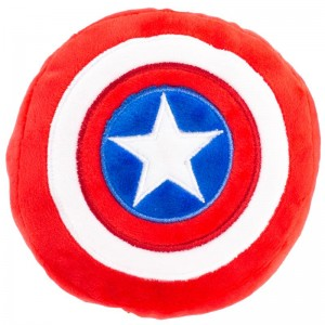 DOG TOY SQUEAKY PLUSH-CAPTAIN AMERICA SHIELD RED WHITE BLUE WHITE