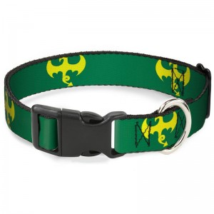 PLASTIC CLIP COLLAR-IRON FIST DRAGON LOGO GREEN/YELLOW