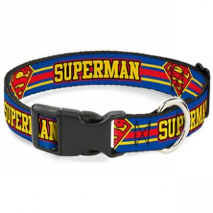 PLASTIC CLIP COLLAR-SUPERMAN/SHIELD STRIPE BLUE/YELLOW/RED