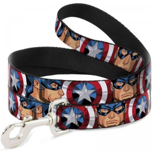 DOG LEASH- CAPTAIN AMERICA FACE TURNS/SHIELD CLOSE-UP