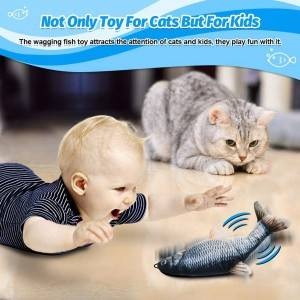 Interactive Cotton electric waggling cat toy moving fish