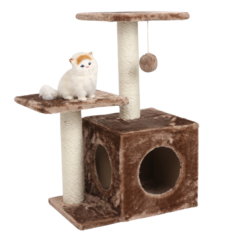 Shinee Particleboard,short wool,swordcord 43*34*70cm Modern cat tree house tower ceiling Featured Image