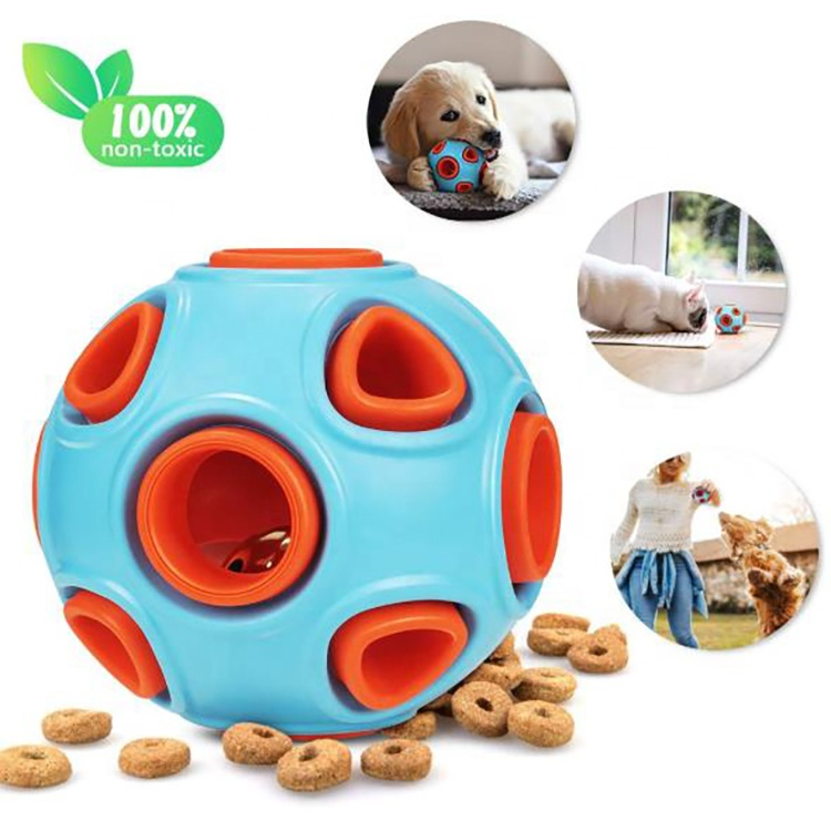 Durable Rubber Bite Resistant Pets Toys Interactive IQ Treat Dog Chew Toys Food Dispensing Ball with Small Bell