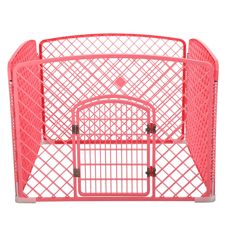 Pet products plastic 4 panels portable carrier playpens indoor foldable plastic pet fence for dogs