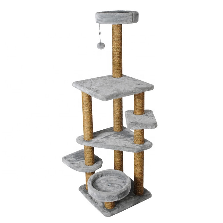 Cat Plush Toy Multi-Level Cat Tree Condo Kitten Tower Play House Dengan Platform Cozy Perches