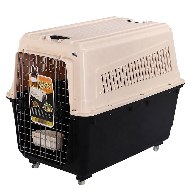 Plastic Flight Transport Box Pet Air Box Travel Carrier Cages Portable Plastic Dog Carrier With Wheel