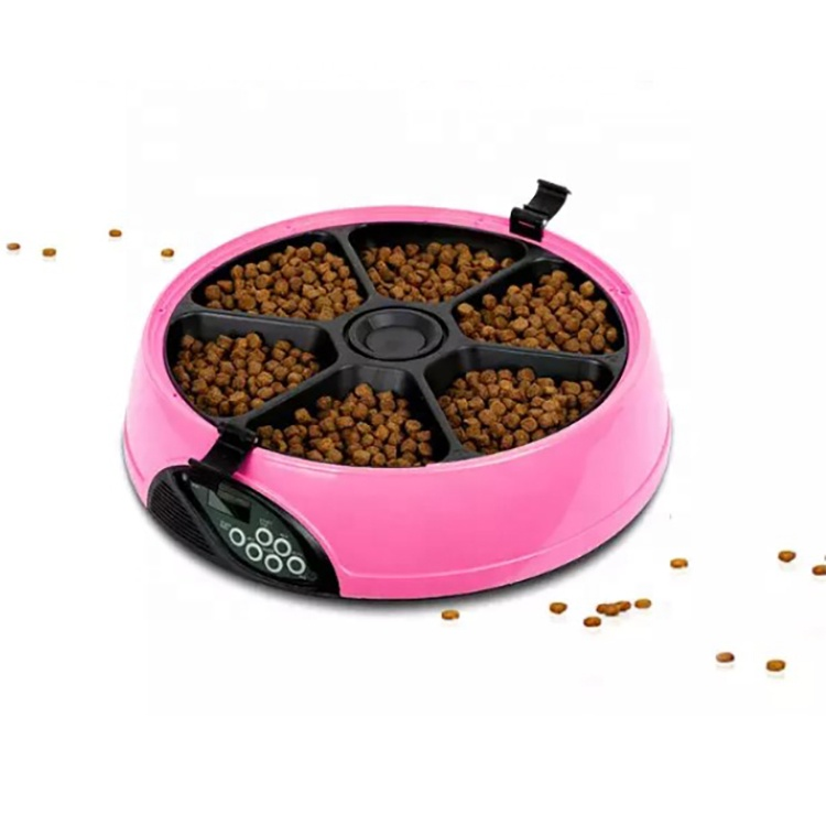 Luxury Voice Recording LED Display Six Portions Smart Automatic Pet Feeder Dry Food Dispenser For Dogs Cats