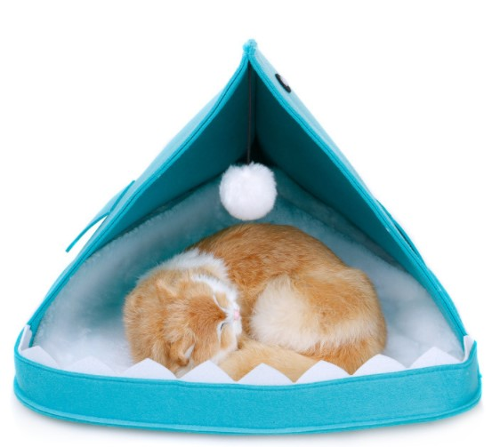 Cute Shark Design Foldable Pet Cat House With String Ball For Fun High Quality Oxford Cloth OEM Color Cat House