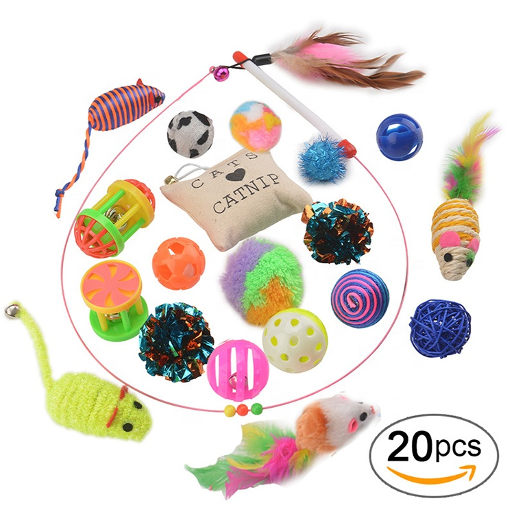 20 packs Interactive Feather Cat Teaser Toys Cat Play Wand Crazy Teaser Toy With Bell