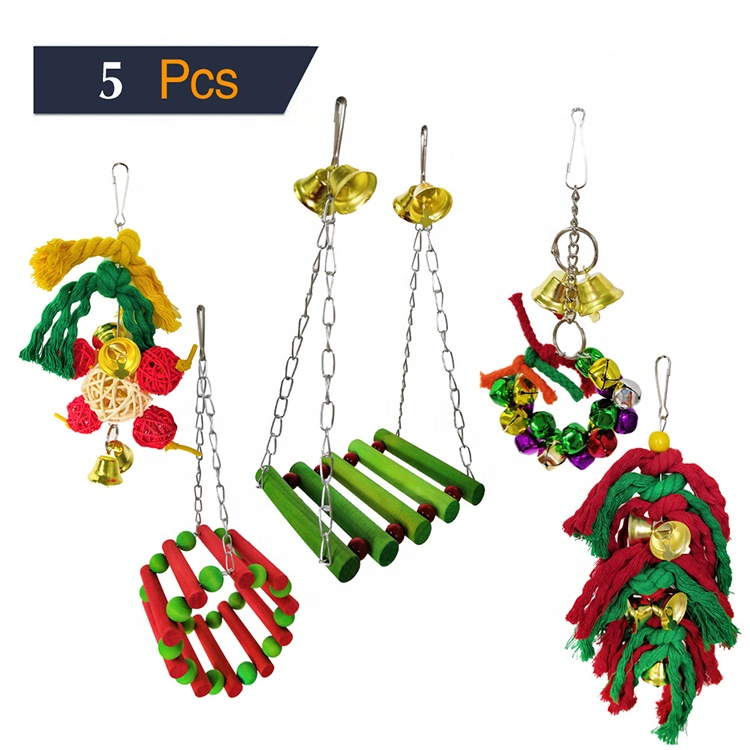 Cheap PriceList for Plush Fish Cat Toy - Pet Christmas 5 Packs Bird Swing Chewing Hanging Perches Toys Bird Parrot Cage Bite Toys – J & E
