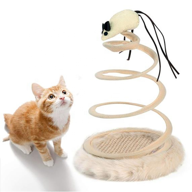 Best-Selling Cat Scratch Toy - Spring Rotating Cat Creative Toy Cat Plush Toy Interactive Cat Toy with Mouse – J & E