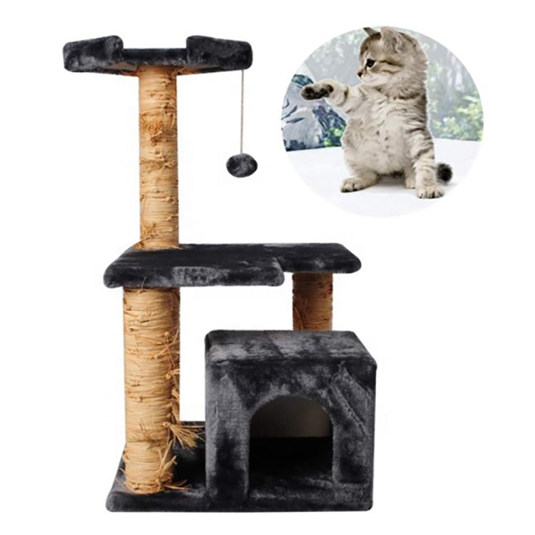 Cat Tree Scratcher Activity, Cat Tree Sisal Scratching Post Kitten Furniture Plush Condo Playhouse With Dangling Ball