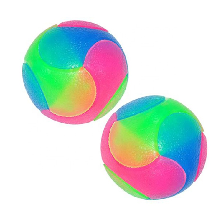 Interactive Pet Toys Glowing Elastic Dog Ball Rubber Bite Dog Chew Toys Flashing Molar Interactive Ball