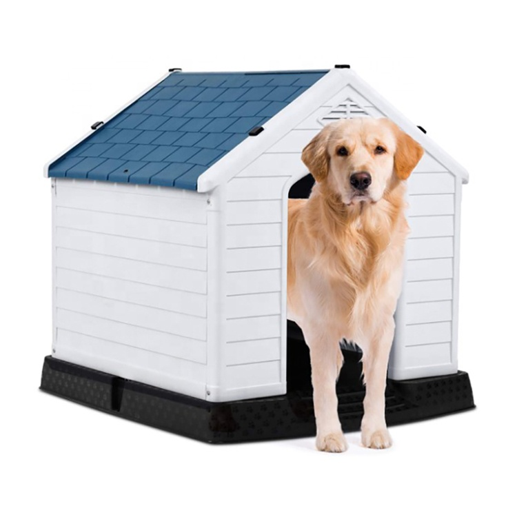 Vanntett Luft Pet Kennel All Weather Dog huset valp Shelter Innendørs Utendørs Plastic Pet Dog House