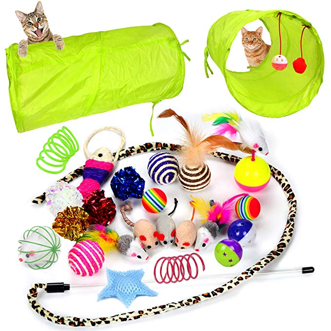 24 Cat Toys Kitten Toys Assortments, 2 Way Tunnel, Cat Feather Teaser – Cat Toy Set Cat Lounge