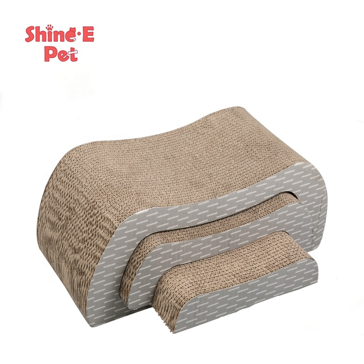 Pet toy 3-in-1 lounge cat scratcher cardboard pad cat scratching posts bed for large cats and little kitten