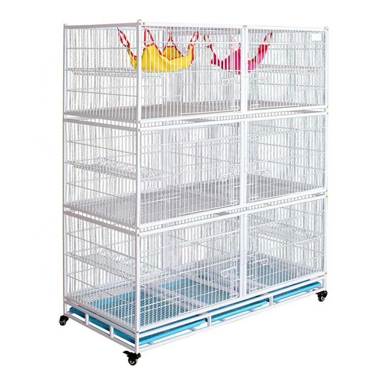Factory Price Large Breeding Pet Crate 3 Tier Cat Cage Playpen Metal Wire Cat Home Cages With Wheels For Pet Shops