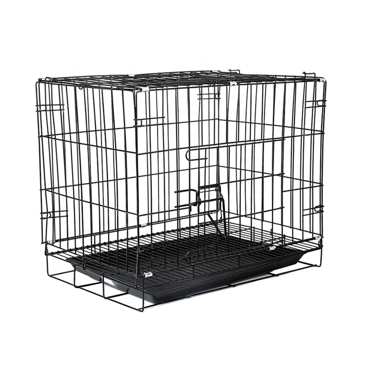 Wholesale Eco-Friendly Double Door Folding Dog Cage Kennel,Metal Wire Collapsible Dog Crate With Tray
