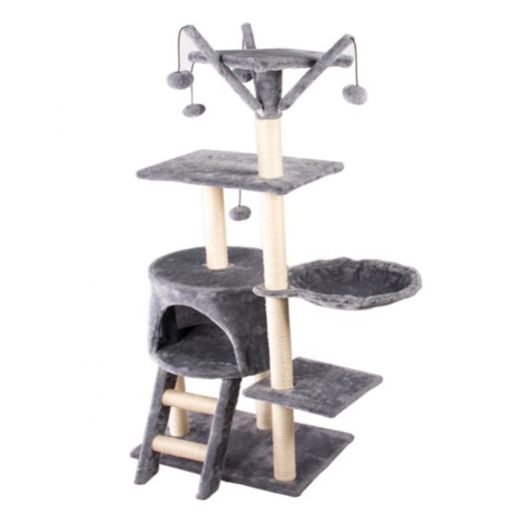 Kilang Supplier Plush Pet Condo Tower House Furniture Cat Climbing Hammock Mainan Cat Scratcher Tree