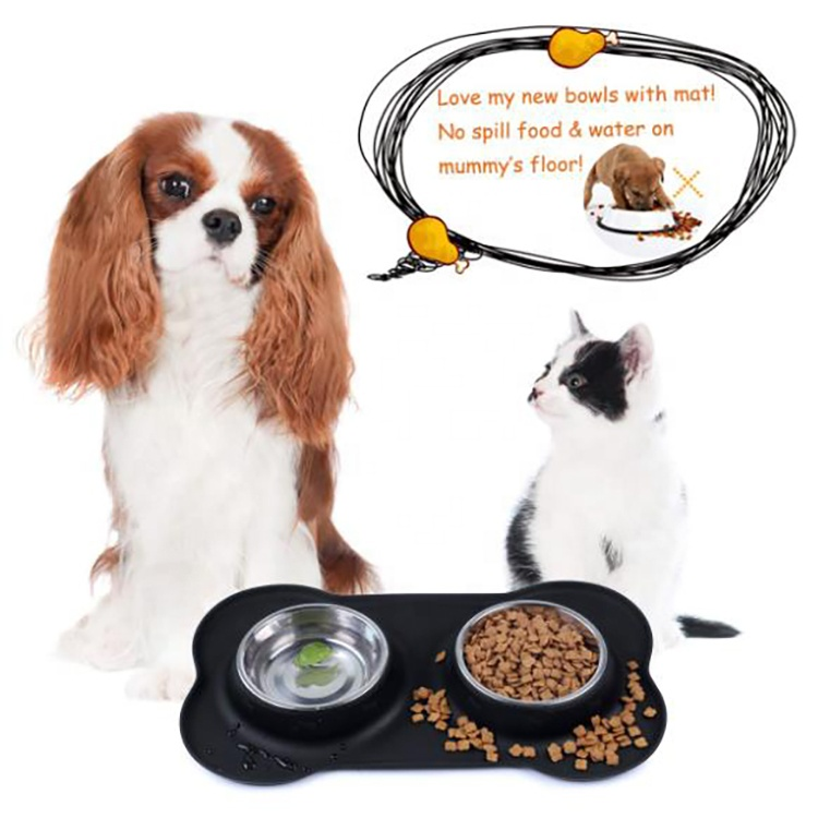 Stainless Steel Dog Bowl Feeder Bowls Pet Bowl With No Spill Non-Skid Silicone Mat