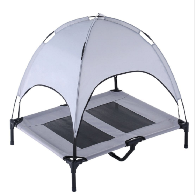 Outdoor dog cot bed with canopy