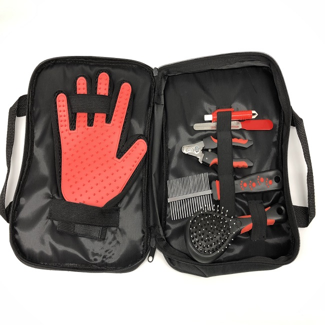 Pet dog  grooming glove kit with nail clipper comb glove tick remocer sickle