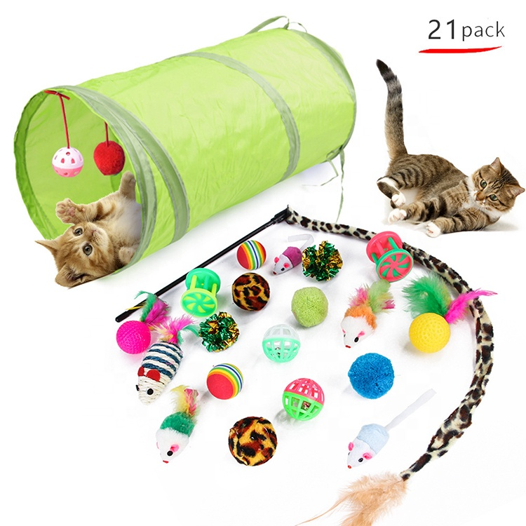 21 pcs Retractable Cat Toy Wand Kitten Cat Pet Toy Wire Chaser Wand Teaser Feather Toys With 2 Way Tunnel