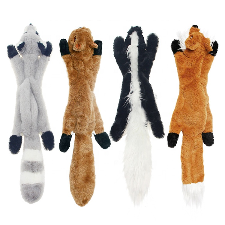 4 Pack Dog Squeaky Chew Toys No Stuffing Dog Toys Plush Animal Squeaky Crinkle Dog Toys