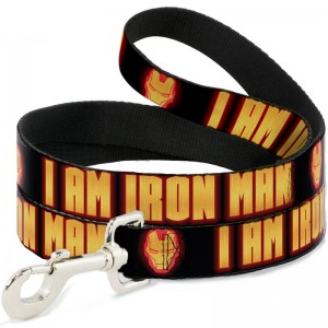 DOG LEASH-IRON MAN FACE/L AM IRON MAN BLACK/YELLOW GLOW