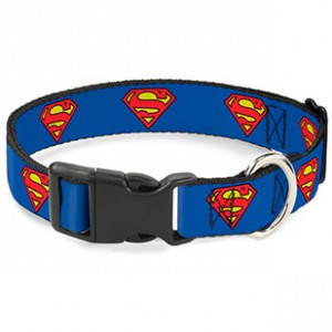 PLASTIC CLIP COLLAR -SUPERMAN SHIELD BLUE