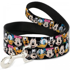 DOG LEASH- CLASSIC DISNEY CHARACTER FACES BLACK