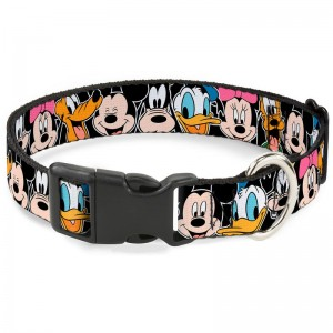PLASTIC CLIP COLLAR-CLASSIC DIDNEY CHARACTER FACES BLACK