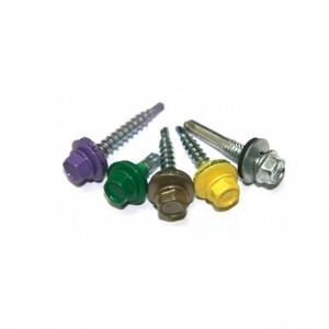 Color Painted Self drilling roofing screws with washer rubber