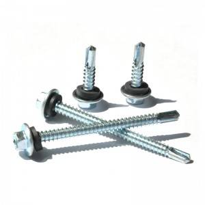 DIN7504K Hex flange head self drilling screws(sds) with epdm(rubber)/pvc washer